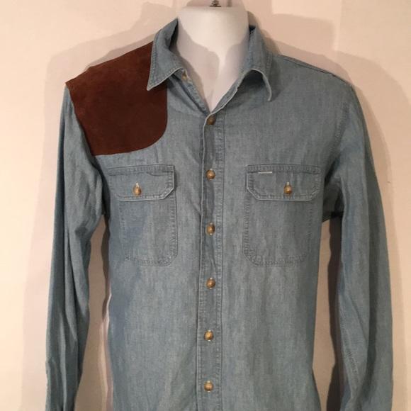 d69e8ad67ca Polo by Ralph Lauren cowboy Distress denim Shirt. M 5c3a58210cb5aaab9c94ad62